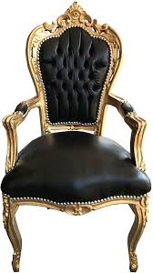 casa padrino barock esszimmerstuhl schwarz gold lederoptik mit armlehnen esszimmer stuhl möbel