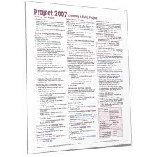 Microsoft Project 2007 Quick Reference Cheat Sheet Card Beezix