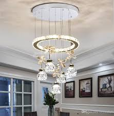 Three Modern Minimalist Dining Room Lamp Home Creative Personality Led Crystal Lamps Round Multi Coloured Chandelier Seashell From