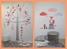 stickers décoration chambre bébé stickers renard arbre corail saumon gris argent décoration