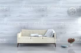 grauweiß wohnzimmer dekor mit cremeweißen sofa wanduhr weiße holz wand fenster buch grau weiße zementfußboden rote vase die sonne scheint durch