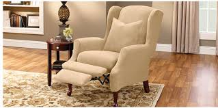 wing chair recliner slipcovers recliner and wing chair covers sure fit slipcovers