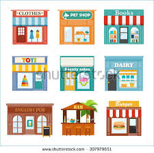Stores And Shops Icons Set With Clothes Store Pet Shop Books Etc