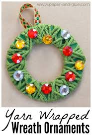 Yarn Wrapped Christmas Wreath Ornament Craft For Kids Fun And Easy Preschool
