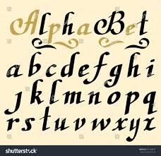 Hand Lettering Alphabet Design Handwritten Brush Script Modern Calligraphy Cursive Font Vector Illustration Collection