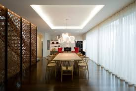 Sheer White Curtains Dining Room Modern With 3 Story Cove Lighting Image By David Edelman Architects