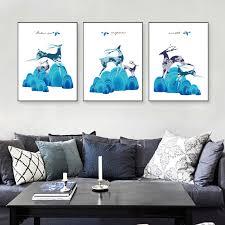 nordic minimalistischen blau deer leinwand malerei kunstdruck poster bild wand moderne minimalist schlafzimmer wohnzimmer dekora