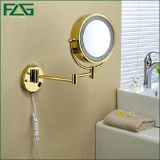 magnifying wall mount mirror with light magnifying gold color