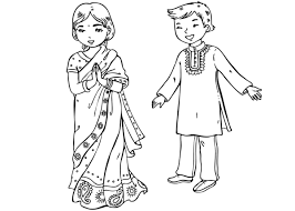 Around The World Coloring Pages Page Indian Children