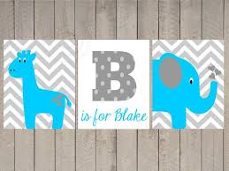 Gray Chevron Print Set Elephant Giraffe Nursery By ArdenRaeDesigns NurseryDiy CanvasCanvas