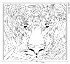 Hard Coloring Pages Of Animals Tiger Face
