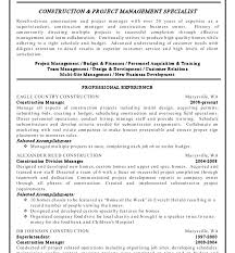 Construction Project Management Resume Samples Manager Sample Doc Examples Template Cv