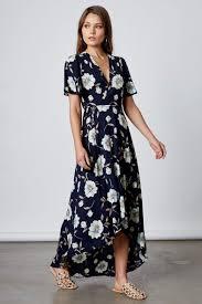 navy blue floral print long wrap maxi dress flutter sleeve party