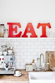 Red EAT Letters In The White Traditional KitchenOld World Style Wall Decor For KitchenCountry Ktichen With An Open Shelf And Big