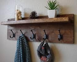 Rustic Modern Light Walnut 5 Hanger Hook Coat Rack With Shelf Support Brackets