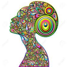 Woman Psychedelic Portrait Art Design Stock Vector