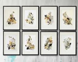 Set Of 8 Prints Flower Print Wall Art Herbarium Pressed Botanical