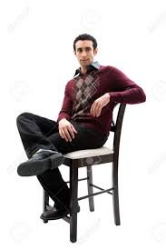 Handsome Guy Wearing Business Casual Clothes Sitting On A High ...