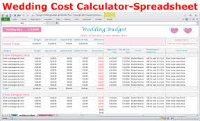 20 Off Wedding Costs Calculator Excel Budget Spreadsheet