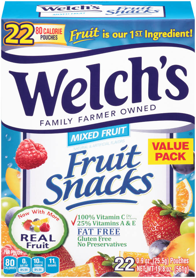 Welchs Fruit Snacks, Mixed Fruit, Value Pack - 22 pack, 0.9 oz pouches