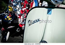 Piaggio Vespa Scooter With Classic Script Logo At A Rally In Brighton UK
