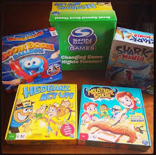 Have You Checked Out These Fun Games From Spin Master I Was Sent Boom Balloon Moustache Smash Shark Mania And Hedbanz Act Up Recently