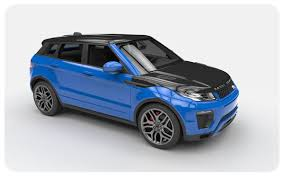 Gloss Blue Evoque Black Roof Bonnet Wraps