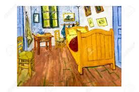 amsterdam niederlande august 10 2016 schlafzimmer in arles foto der ursprünglichen malerei künstler vincent gogh öl auf leinwand 1888