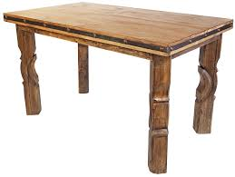 Rustic Wood Counter Height Dining Table With Iron Band