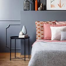 tiita schwarzer runder beistelltisch aus metall rund klappbar für wohnzimmer schlafzimmer 44 5 x 50 5 cm l schwarz