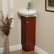 Small Corner Bathroom Sink And Vanity by Bathroom Appealing Reddish Brown Corner Bathroom Vanity Wooden