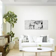 wandbild modern wohnzimmer washing zebra banksy grau