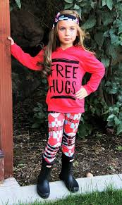 Free Hugs Hot Coral Aztec Hoodie Pant Set Boutique Outfits New Newborn ClothingKid