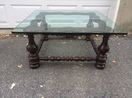 Ethan Allen Dark Pine Roll Top Desk by Mid Century Modern Ethan Allen Thick Glass Top Square Coffee Table