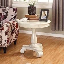 Amazon Roundhill Furniture Rene Round Wood Pedestal Side