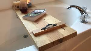 Diy Bathtub Caddy With Reading Rack by Make A Simple Diy Bathtub Caddy Youtube