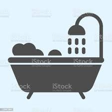badewanne solide symbol badezimmer mit dusche und schaumstoff horeca vektordesignkonzept glyphenstil piktogramm auf weißem hintergrund verwendung für