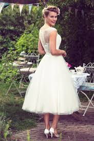 Lace Tulle Tea Length Rustic A Line Wedding Dress