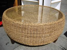 Coffee Table Remarkable Round Wicker Glass Small Ottoman Kitchen And C