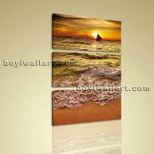 Large Vertical Wall Art On Canvas Beach Sunset Picture Print Living Room Decor