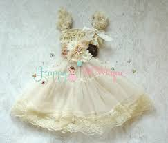 Flower Girls Dress Champagne Rustic Lace Chiffon Dress Set