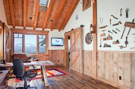 Stunning Mountain Views And Rustic Cabin Style Shape This Lovely Home Office