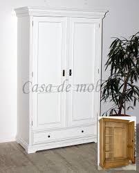 kleiderschrank 120x190x56cm fichte weiß antik lackiert casade mobila
