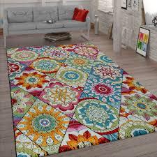 kurzflor teppich wohnzimmer bunt retro design mandala muster