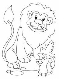 The Lion And Mouse Story Coloring Page