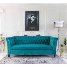 Tufted Velvet Sofa Bed by Nightingale Teal Blue Velvet Sofa Turquoise Sofa Nightingale