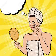 pop schöne frau entfernen make up aus dem gesicht in badezimmer vektor illustration