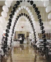 These Elegant Balloon Arches With Streamers Would Be Great For A Black And White Themed Quinceanera Party
