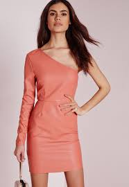 missguided faux leather one shoulder bodycon dress pink in pink lyst