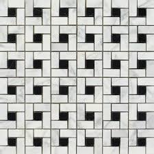 carrara mini pinwheel mosaic w black dots honed 12x12